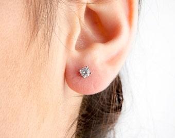 Solid gold earrings, 14k studs, Solitaire studs, Green studs,  Everyday earrings, Clear stone earrings, Black earrings,   Everyday jewelry