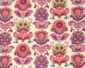 Half Yard - 1/2 Yard - Folk Bloom in Natural - BRIGHT HEART Collection by Amy Butler