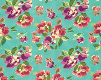 Half Yard - 1/2 Yard - Natural Beauty in Teal - BRIGHT HEART Collection by Amy Butler