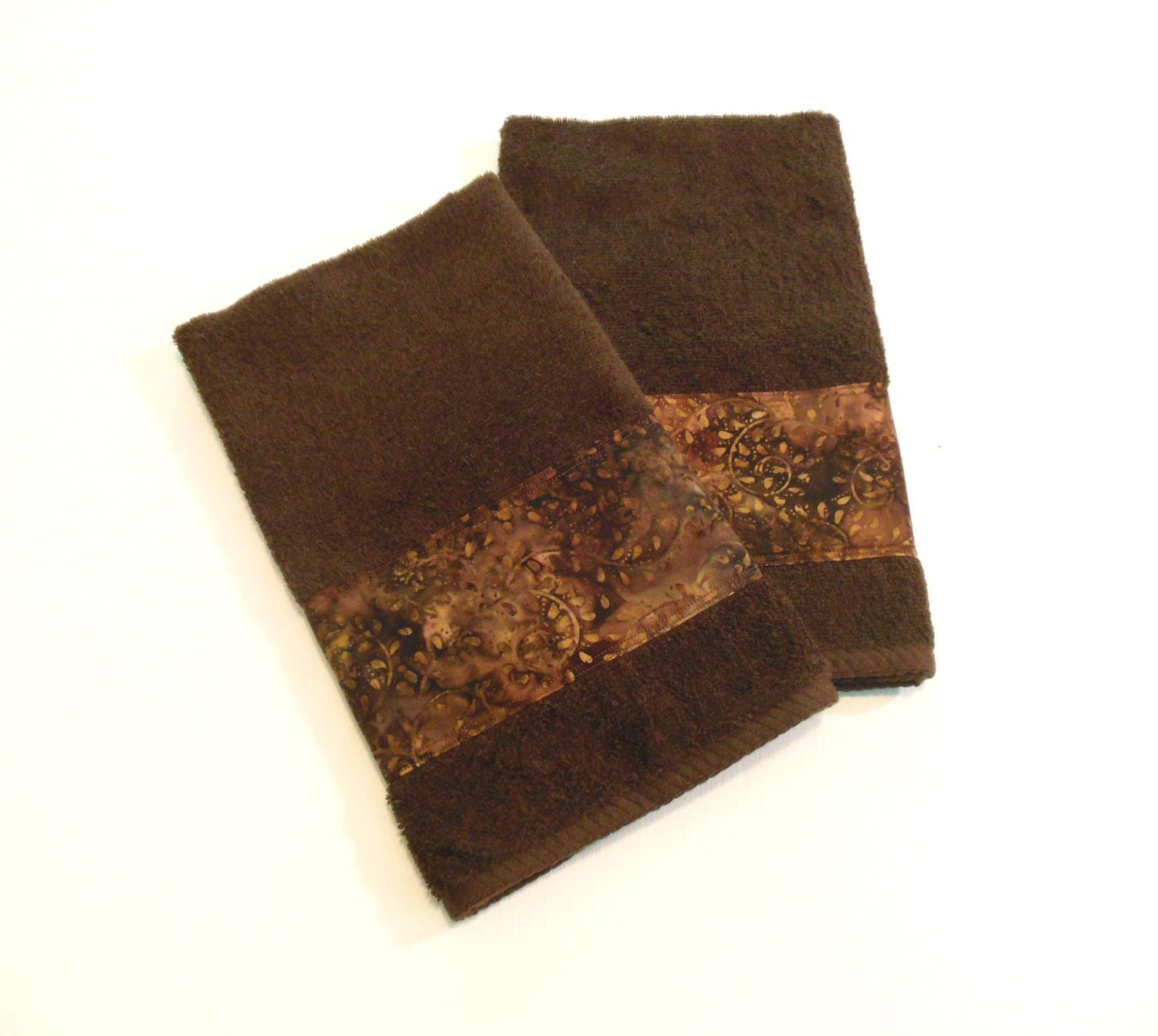 Brown batik hand towels decorative hand towels bathroom towels for Bathroom decorative towels
