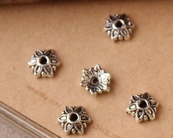 Silver Bead Caps -100pcs antique silver Mini Bead Cap Charms Findings 7mm