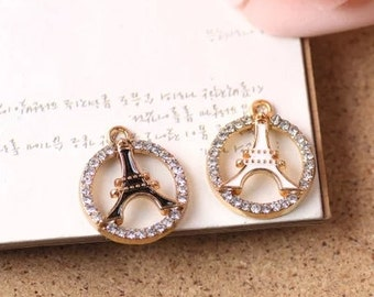 5pcs of antique gold hollow eiffel tower badge diamond  drop oil charm pendants 21x19mm