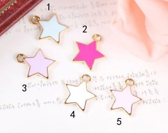 10 pcs of antique gold color five-pointed star drop oil charm pendants 13x15mm