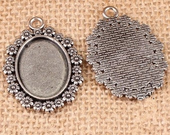 Cabochon Base Settings-10pcs antique silver oval base flower cameo charm pendants 18x25mm