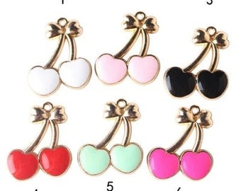 10 pcs of antique gold multicolour cherry charm pendants 22x25mm