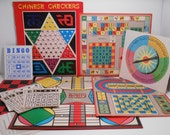 Vintage Game Boards Destash, 1960s 1970s Cardboard Game Boards, Bingo, Parcheesi, Chinese Checkers Mixed Media Altered Art Junk Journals