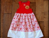 Easter dress**Dress on sale**Toddler girl tank top dress***Ikat print dress**Ready to ship dress in size XS 4/5**Color red, orange, white