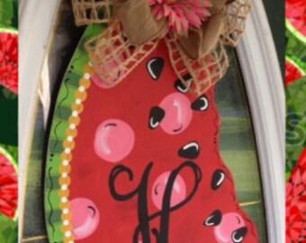 Monogram Watermelon Door Hanger Sign