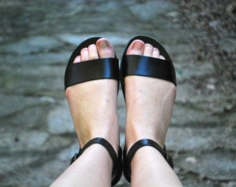 Handmade black ankle strap greek women's sandals with buckle