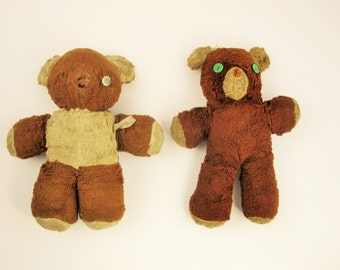 The Sweetness of Two Bears From Years Gone By - A 'Cubbi-Gund' Stuffed Bear and a Bear With Green Button Eyes - Imagine the History