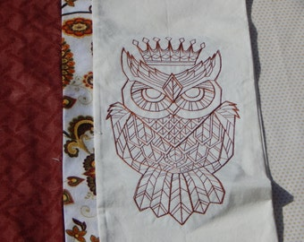 Owl King Embroidered Pillowcase