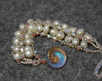 SALE  Gorgeou White Pearl Woven bracelet
