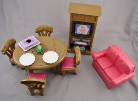 Fisher price loving family living room doll furniture lot w for Fisher price loving family living room
