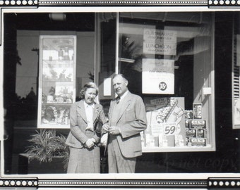Vintage Snapshot Photo ~ Barbasol window display ~ advertising display
