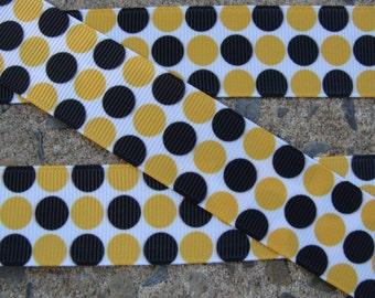 "3 yards Grosgrain Yellow and Black Polka Dots Printed Ribbon 1"" grosgrain hair bow ribbon"