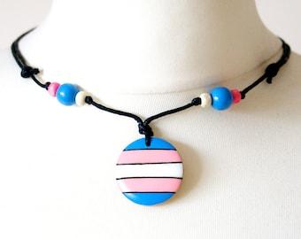 Transgender Necklace Trans Flag Pendant Gift Symbol Colours Jewelry Choker