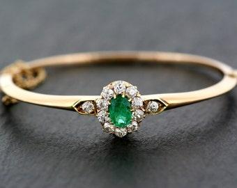Antique bracelet émeraude - 19ème siècle austro-hongrois victorien émeraude et diamant bracelet 14ct or