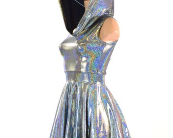 Sleeveless Silver Holographic Hoodie Skater Dress Lycra Spandex Clubwear Festival Rave 150778