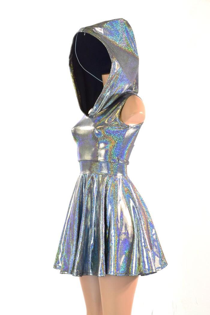 Sleeveless Silver Holographic Hoodie Skater Dress W Black Zen
