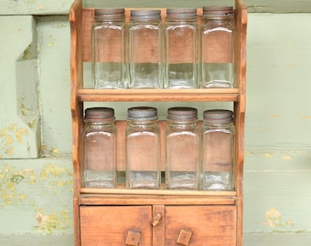 Vintage Primitive Spice Rack Spice Jars