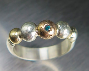 Natural Blue Diamond sterling .925 silver & 14k rose gold annd 9k yellow gold antique style engagement ring