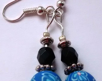 Blue/Tuquoise Flowery Patterned Beaded Earrings