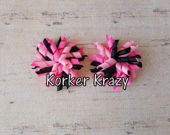 Pink and Black Mini Korker Bows