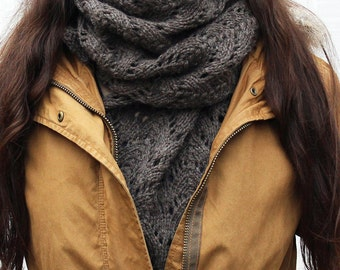 Heartland Scarf - Handknit Bulky Lace Scarf/Shawl - Bark