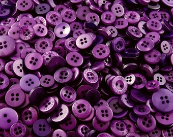 Purple Small Mixed Buttons - Bulk/Job Lot/Scrapbooking/Card Making/Crafting