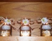 Rustic Wedding Decor / Wedding Votive Candle Holder / Wedding Lighting / Mason Jar Wedding Centerpiece / Daisy Wedding Decoration / Raffia