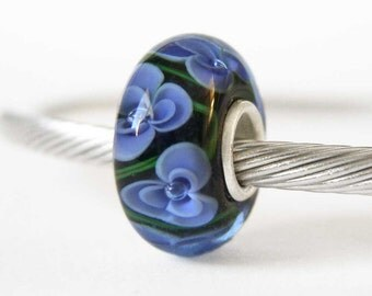 Blue Violet Lampwork Sterling Silver European Style Large Hole Bead