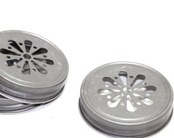 12 Pewter silver daisy lids to go on mason jars  Christmas weddings baby shower birthday party carnival popcorn sack