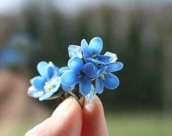 Blue lilac earrings - flower jewelry - lilac jewelry - floral jewelry - polymer clay earrings - clay jewelry - blue jewelry