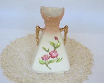 Antique Bud Vase, Shabby Chic Vase, Early 20th Century Bud Vase, Gold Handle Bud Vase, Cottage Chic, Handpainted Vase, Rosebud Vase