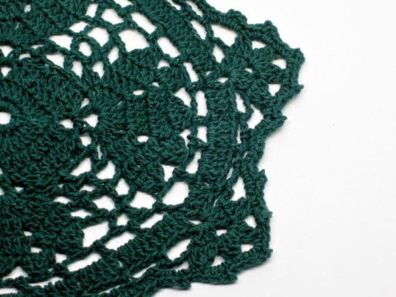 YARD SALE- 8 inch Doily, Crochet, Forest Green