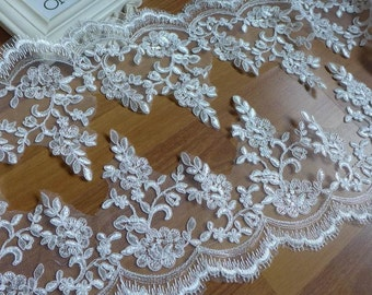 New Ivory/ Red Alencon Lace Scalloped edge Trim for Bridal, Veils, Costumes