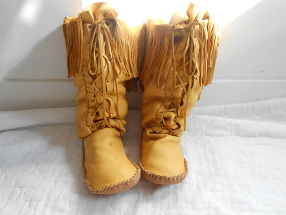 Moccasin boots lace up moccasins native american custom handmade
