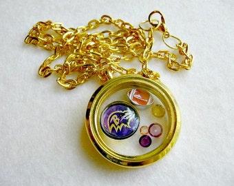 Baltimore Ravens Necklace, Baltimore Ravens Jewelry, Baltimore Ravens Accessories, Baltimore Ravens Necklace, Football Charm Locket