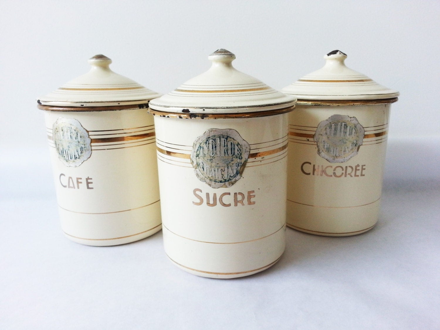 1940's French Kitchen CANISTERS SET/ French Enamelware