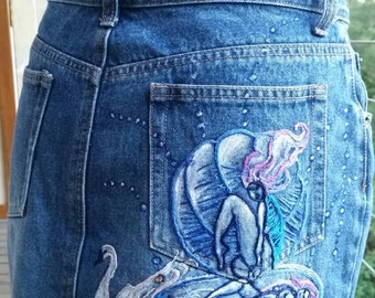 Hand drawn and embroidered denim skirt size 10