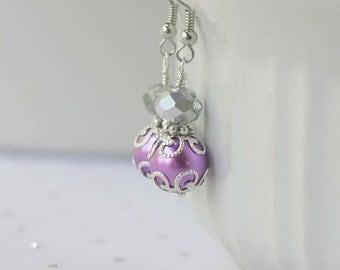 Purple Crystal Earrings, Purple Wedding Jewelry, Purple and Silver Bridesmaid Earrings, Bridesmaid Jewelry Gift, Purple Beaded Jewelry