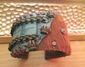 Sterling silver crown studded Leather and real pony hair hand Cuff Bracelet multi chain design brown turquoise