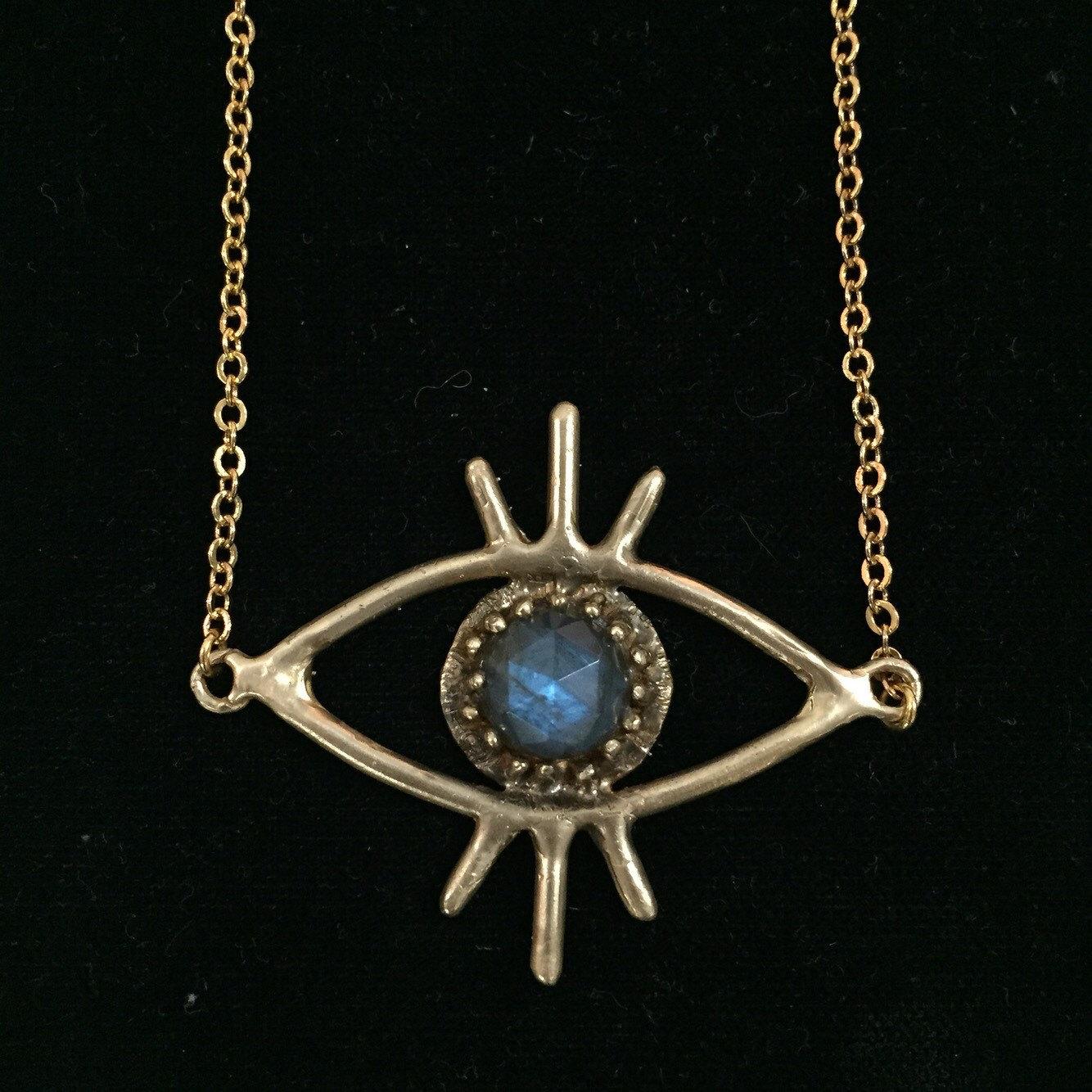 brass labradorite third eye necklace by chelseapriestess