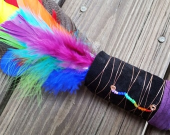 Rainbow Smudge Fan - Ceremonial Spirit Feathers Fan for Clearing Negative Energy with White Sage - 7 Colors Represent Chakras