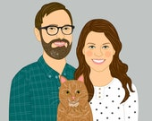 Customised portraits, two person and one pet. Wedding engagement or anniversary gift. Gift for the couple.
