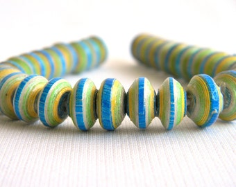 Blue, Green, Yellow Paper Beads - Tiny Saucers - Paper Bead Jewelry Supplies - Hand painted - Lot of 32 - #395