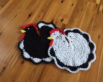 "Set of 2 - 100% Cotton Crocheted Chicken Potholders ""Black & White"""