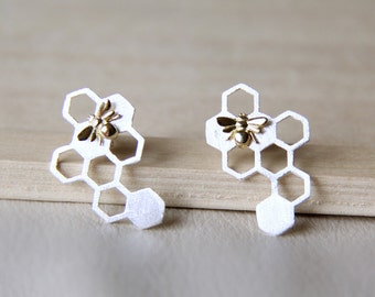 Sterling Silver Honeycomb Stud Earrings. Bumble Bee Earrings