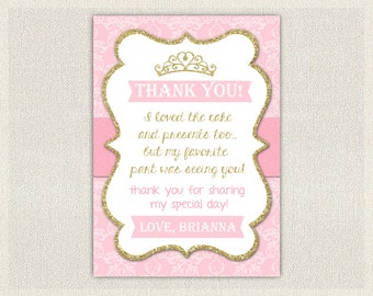 Gold and Pink Princess Thank You Card / Printable Download / Birthday Thank You Note / Glitter Gold Girls Birthday (110)