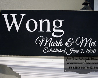 "24x12"" Family Established Wood Sign - Great For Wedding & Housewarming Presents!  - Love  - Family - Marriage - Home - Home Decor"